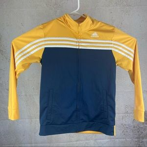 Adidas Gold And Navy 3 Stripe Zip Up YL